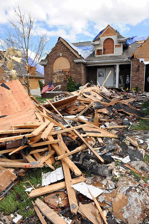 SAINT LOUIS, MISSOURI - APRIL 22: Debris from destroyed homes an